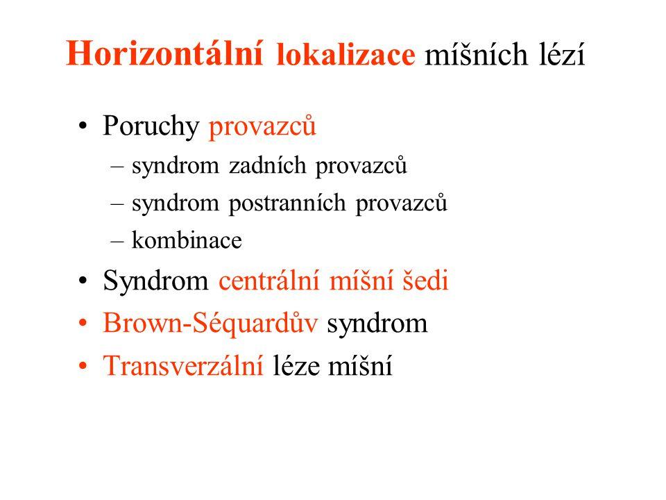 Horizontální lokalizace míšních lézí Poruchy provazců –syndrom zadních provazců –syndrom postranních provazců –kombinace Syndrom centrální míšní šedi