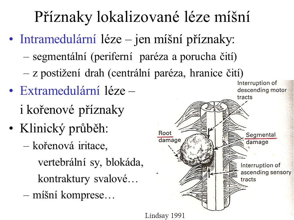 Příznaky lokalizované léze míšní Intramedulární léze – jen míšní příznaky: –segmentální (periferní paréza a porucha čití) –z postižení drah (centrální