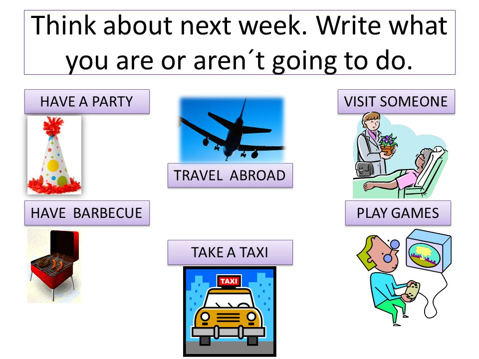 Think about next week. Write what you are or aren´t going to do.