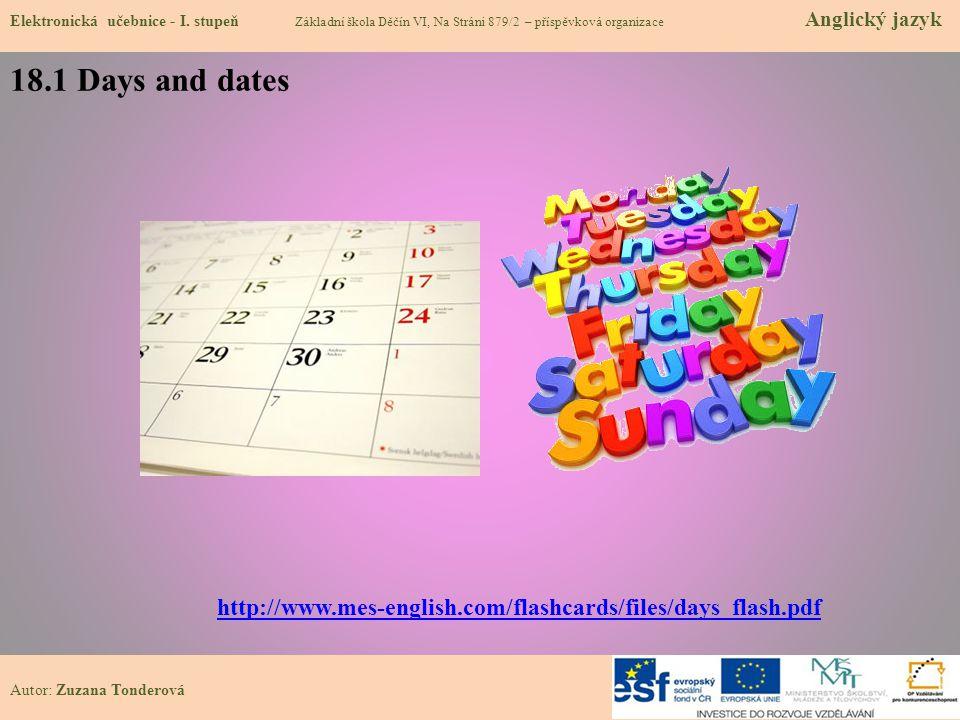 18.1 Days and dates Elektronická učebnice - I.