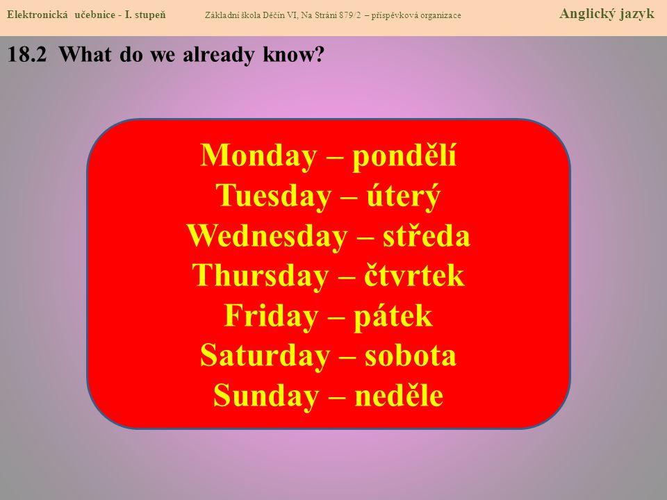 18.2 What do we already know. Elektronická učebnice - I.