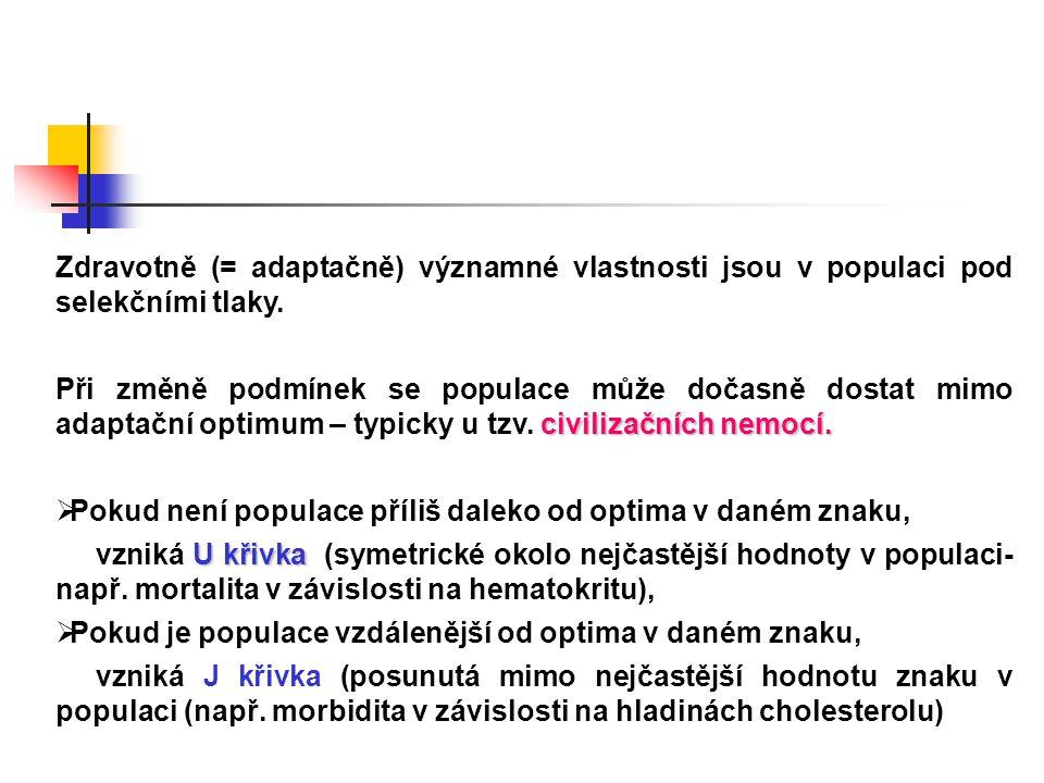 Zdravotně (= adaptačně) významné vlastnosti jsou v populaci pod selekčními tlaky.