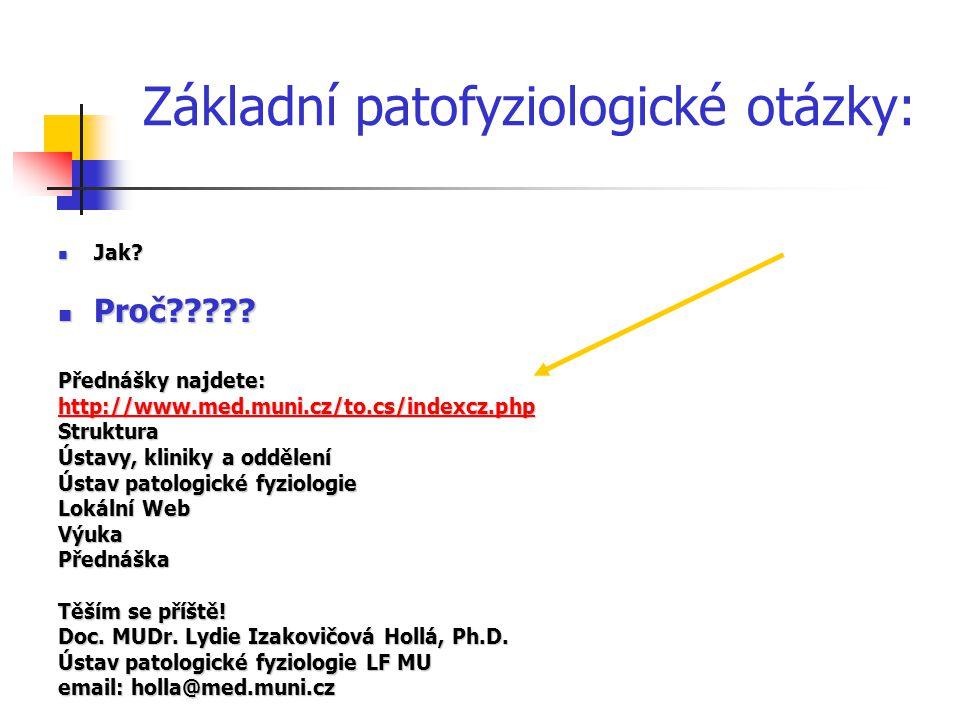 Základní patofyziologické otázky: Jak. Jak. Proč .