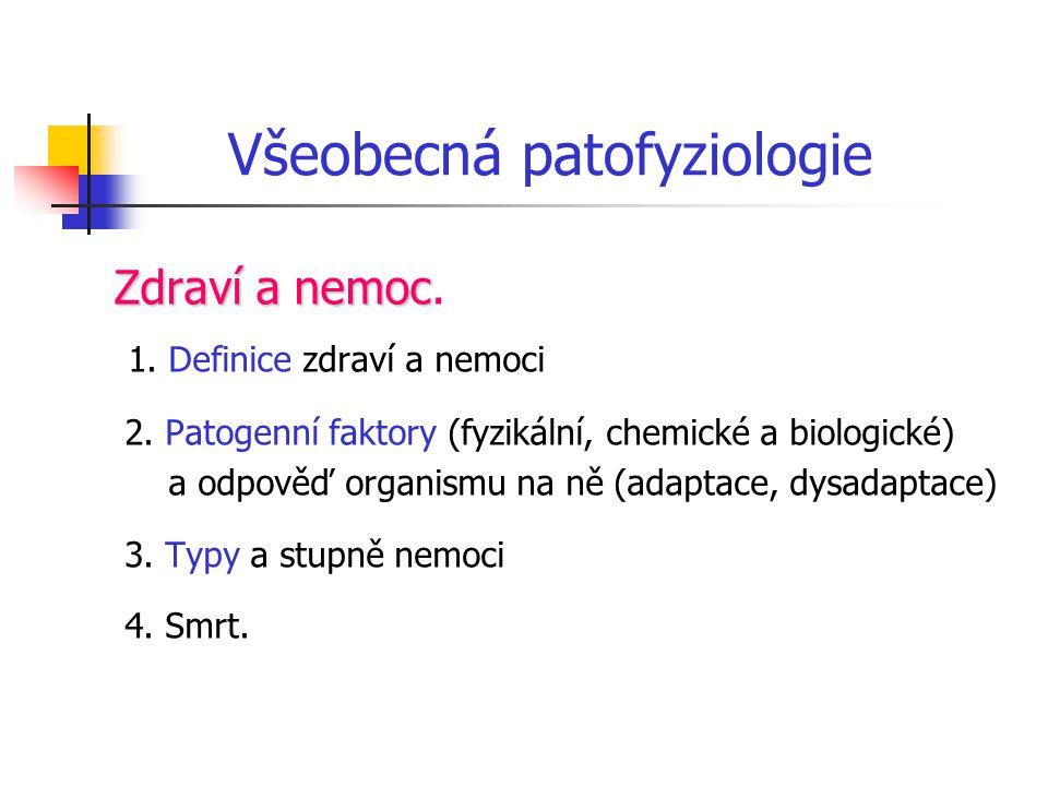 Všeobecná patofyziologie B: Vliv genetického základu na vznik nemocí Nemoci monogenní Nemoci monogenní Nemoci polygenní (multifaktoriální) Nemoci polygenní (multifaktoriální) C: Buněčné mechanismy za patologických stavů D: Reakce na poškození tkáňové integrity a infekce 1.