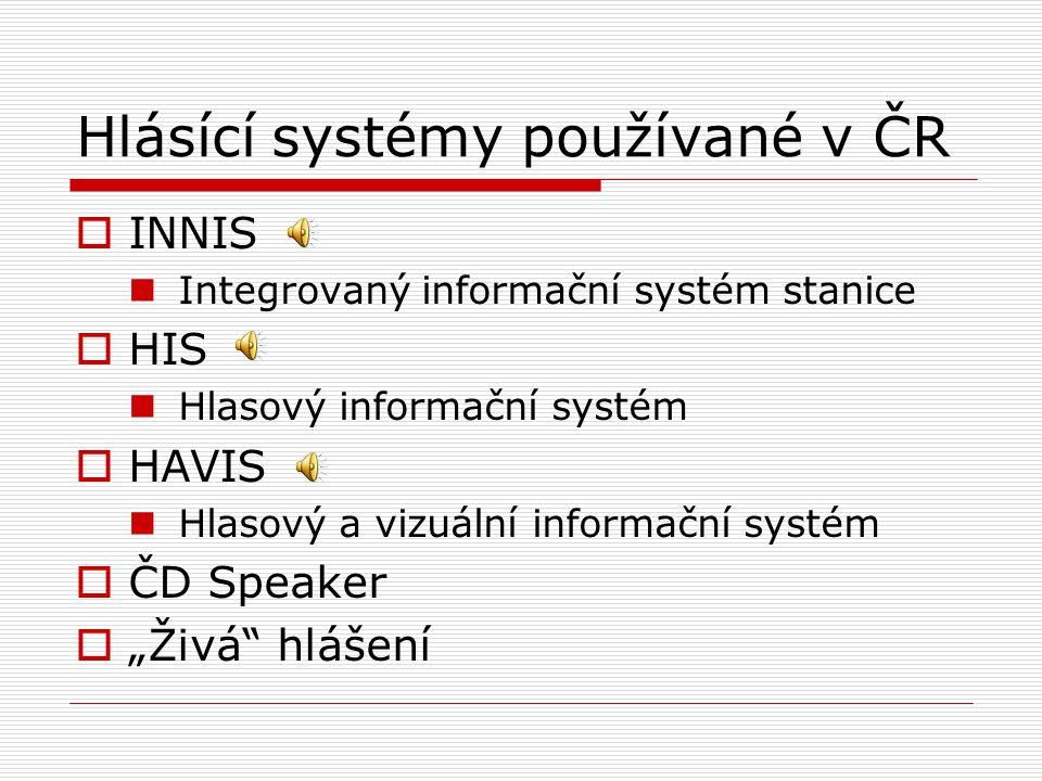 Hlásící systémy používané v ČR  INNIS Integrovaný informační systém stanice  HIS Hlasový informační systém  HAVIS Hlasový a vizuální informační sys