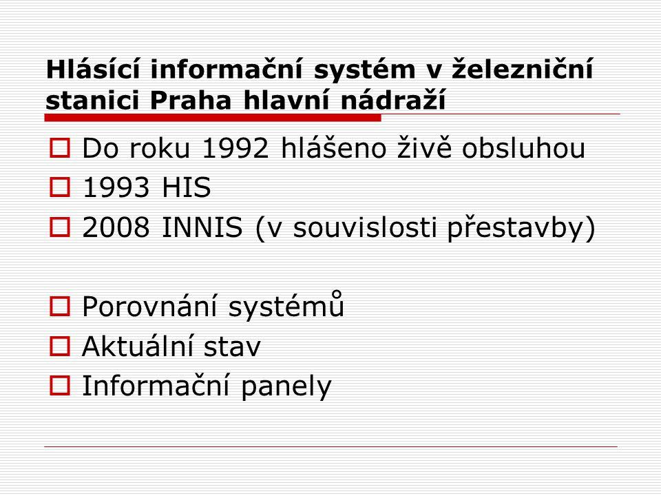 Hlásící informační systém v železniční stanici Praha hlavní nádraží  Do roku 1992 hlášeno živě obsluhou  1993 HIS  2008 INNIS (v souvislosti přesta