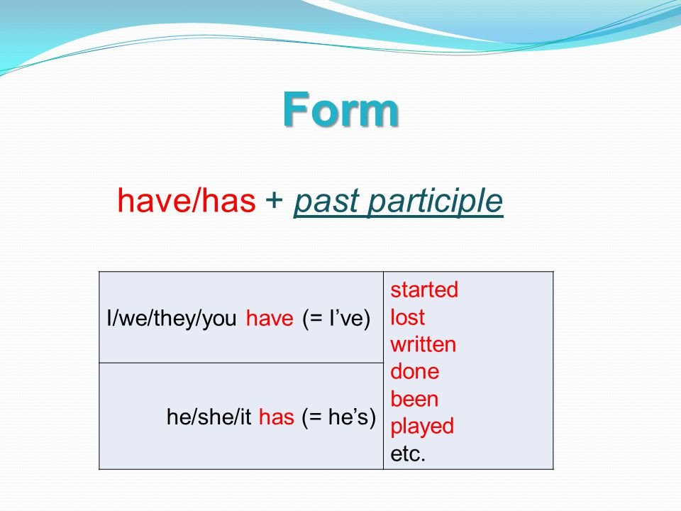 Form I/we/they/you have (= I've) started lost written done been played etc.