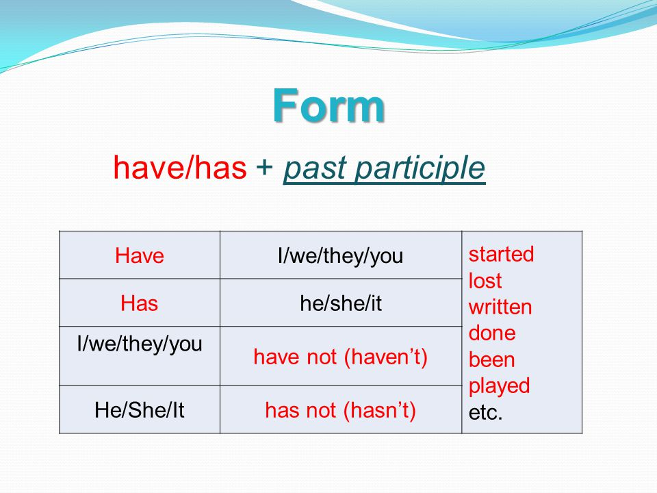 Form HaveI/we/they/you started lost written done been played etc.