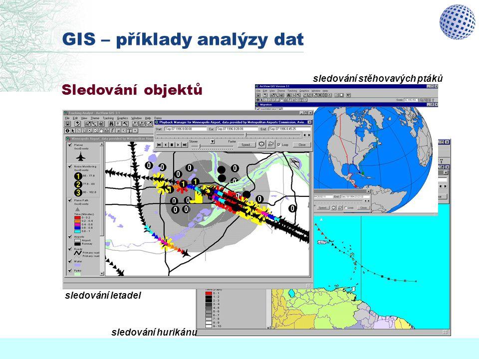 Sledování objektů GIS – příklady analýzy dat sledování letadel sledování hurikánu sledování stěhovavých ptáků