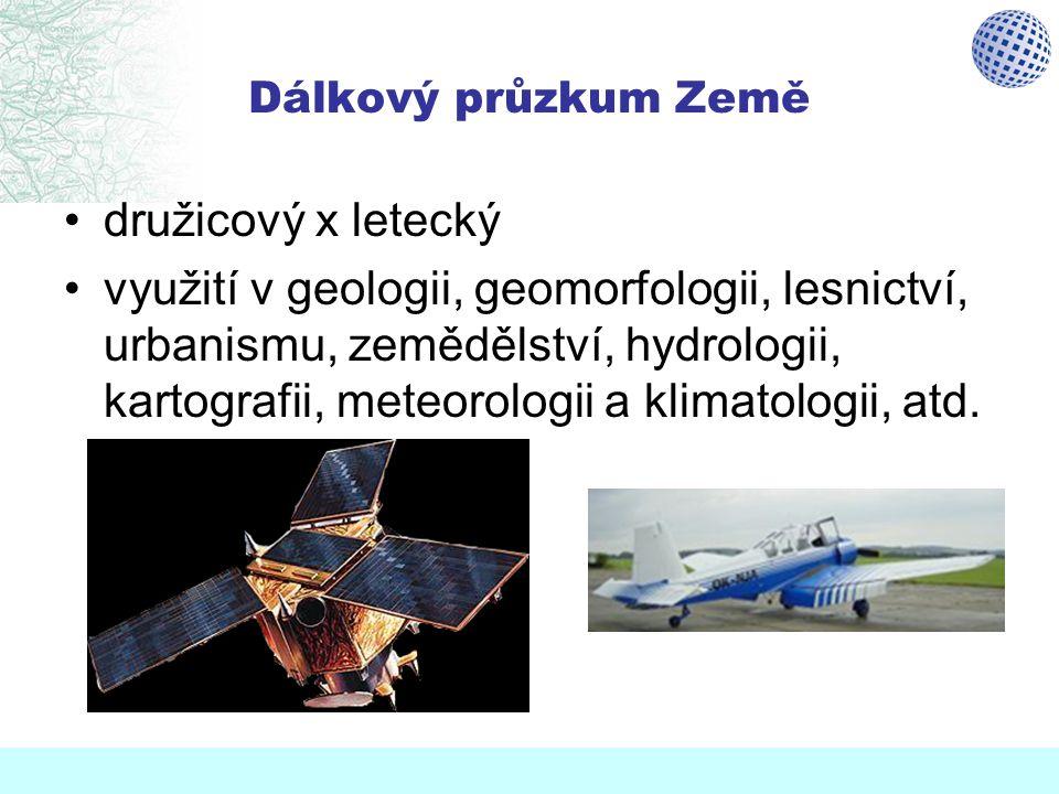 Dálkový průzkum Země družicový x letecký využití v geologii, geomorfologii, lesnictví, urbanismu, zemědělství, hydrologii, kartografii, meteorologii a