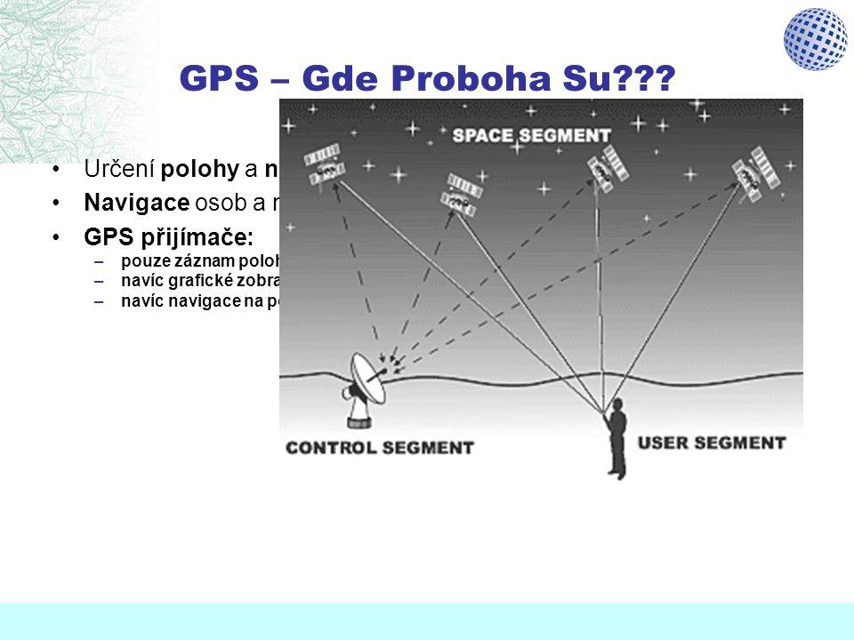 GPS – Gde Proboha Su??? Určení polohy a nadmořské výšky téměř kdekoliv a kdykoliv Navigace osob a mobilních objektů, měření rychlosti pohybu GPS přijí