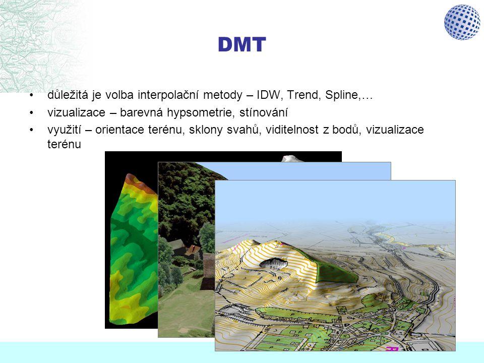DMT důležitá je volba interpolační metody – IDW, Trend, Spline,… vizualizace – barevná hypsometrie, stínování využití – orientace terénu, sklony svahů