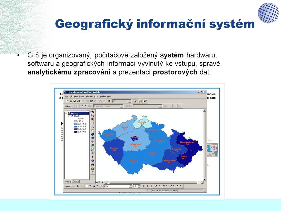 """Mapy a GIS Mapa """"v počítači  GIS mapy převedené do počítače (jako obrázek) ještě samy o sobě netvoří GIS Mapa = výstup z GIS v GIS nejsou uloženy mapy, ale data, která lze formou mapy zobrazovat obsah a grafická podoba mapy je určována uživatelem podle potřeby GIS je informační systém zpracování (velkého) objemu různorodých dat možnost vyhledávání, analýzy dat"""