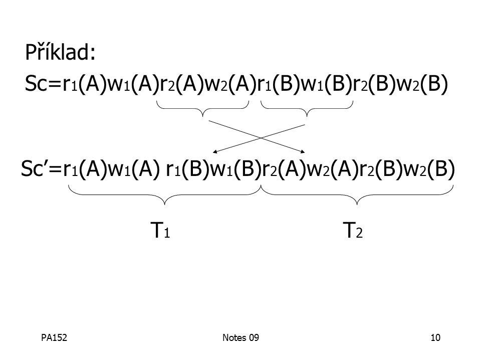 PA152Notes 0910 Sc'=r 1 (A)w 1 (A) r 1 (B)w 1 (B)r 2 (A)w 2 (A)r 2 (B)w 2 (B) T 1 T 2 Příklad: Sc=r 1 (A)w 1 (A)r 2 (A)w 2 (A)r 1 (B)w 1 (B)r 2 (B)w 2 (B)