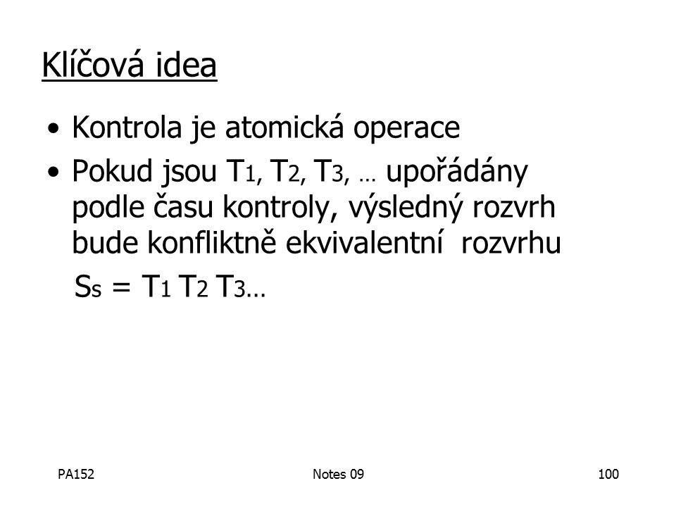 PA152Notes 09100 Klíčová idea Kontrola je atomická operace Pokud jsou T 1, T 2, T 3, … upořádány podle času kontroly, výsledný rozvrh bude konfliktně ekvivalentní rozvrhu S s = T 1 T 2 T 3...