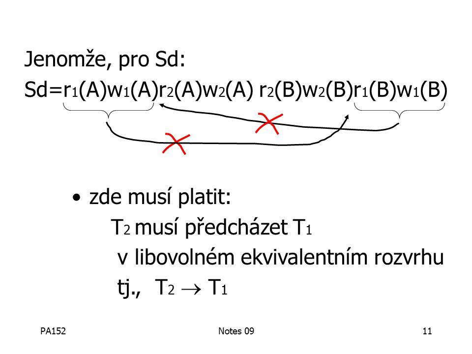 PA152Notes 0911 Jenomže, pro Sd: Sd=r 1 (A)w 1 (A)r 2 (A)w 2 (A) r 2 (B)w 2 (B)r 1 (B)w 1 (B) zde musí platit: T 2 musí předcházet T 1 v libovolném ekvivalentním rozvrhu tj., T 2  T 1