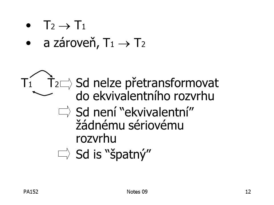 PA152Notes 0912 T 1 T 2 Sd nelze přetransformovat do ekvivalentního rozvrhu Sd není ekvivalentní žádnému sériovému rozvrhu Sd is špatný T 2  T 1 a zároveň, T 1  T 2