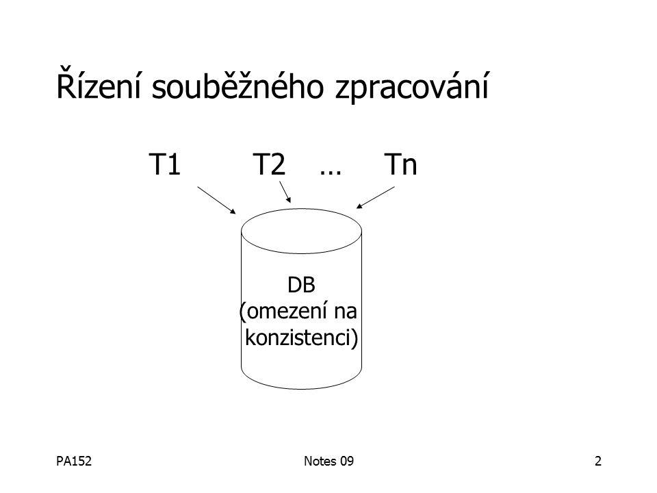 PA152Notes 09103 Příklad 2 (co se nesmí stát): RS(T 2 )={A} RS(T 3 )={A,B} WS(T 2 )={D,E} WS(T 3 )={C,D} time T 2 validated T 3 validated finish T 2 BAD: w 3 (D) w 2 (D)