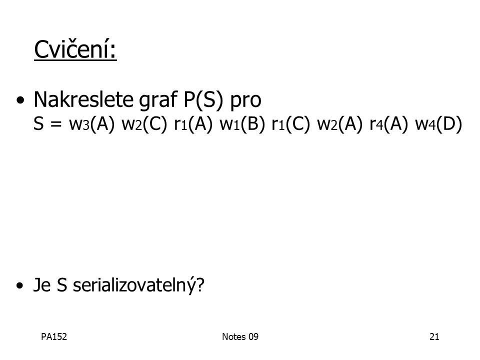 PA152Notes 0921 Cvičení: Nakreslete graf P(S) pro S = w 3 (A) w 2 (C) r 1 (A) w 1 (B) r 1 (C) w 2 (A) r 4 (A) w 4 (D) Je S serializovatelný