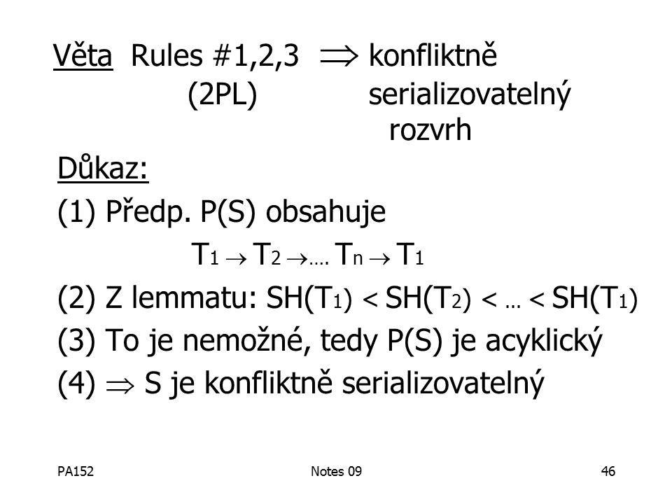 PA152Notes 0946 Důkaz: (1) Předp. P(S) obsahuje T 1  T 2  ….