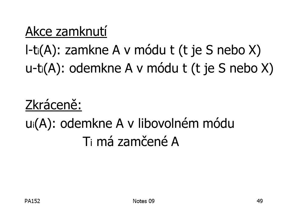 PA152Notes 0949 Akce zamknutí l-t i (A): zamkne A v módu t (t je S nebo X) u-t i (A): odemkne A v módu t (t je S nebo X) Zkráceně: u i (A): odemkne A v libovolném módu T i má zamčené A