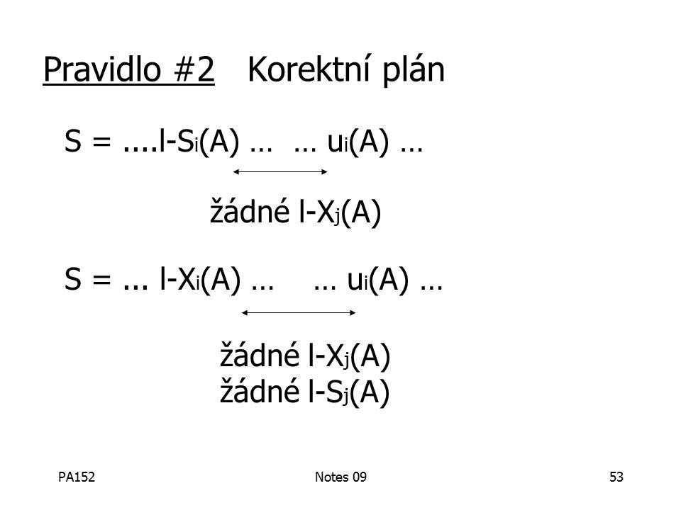 PA152Notes 0953 Pravidlo #2 Korektní plán S =....l-S i (A) … … u i (A) … žádné l-X j (A) S =...