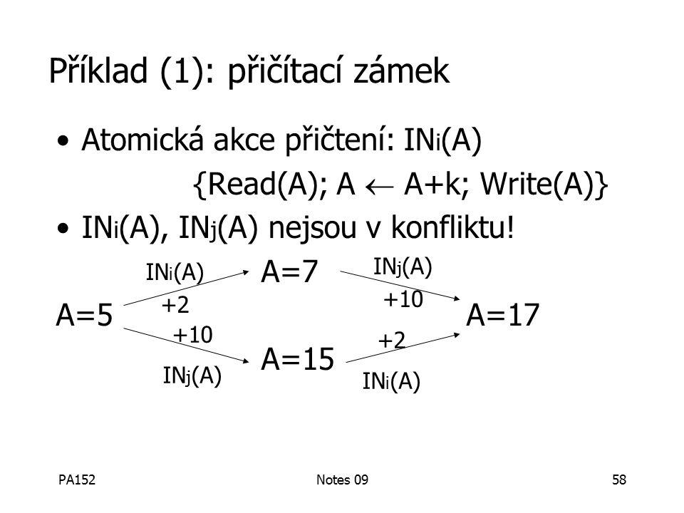 PA152Notes 0958 Příklad (1): přičítací zámek Atomická akce přičtení: IN i (A) {Read(A); A  A+k; Write(A)} IN i (A), IN j (A) nejsou v konfliktu.