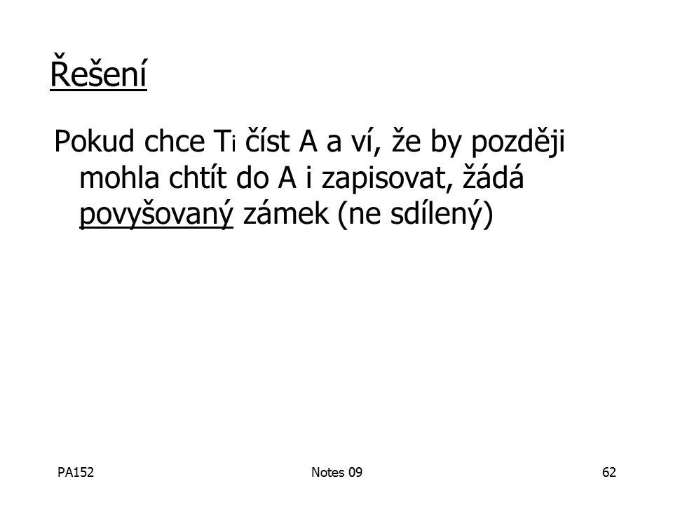 PA152Notes 0962 Řešení Pokud chce T i číst A a ví, že by později mohla chtít do A i zapisovat, žádá povyšovaný zámek (ne sdílený)