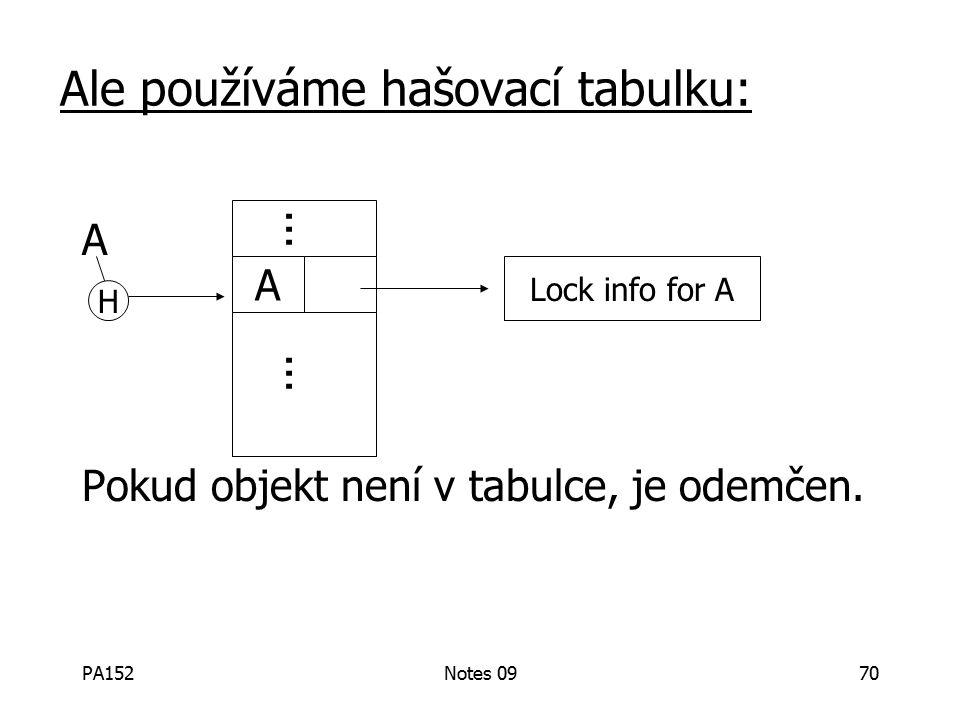 PA152Notes 0970 Ale používáme hašovací tabulku: A Pokud objekt není v tabulce, je odemčen.