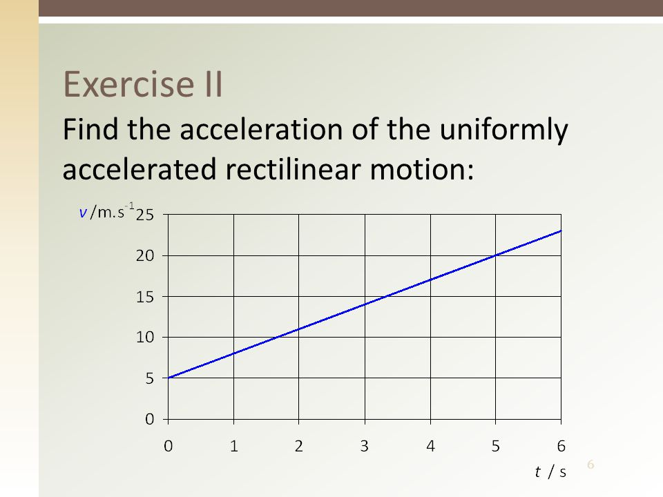 6 Exercise II Find the acceleration of the uniformly accelerated rectilinear motion:
