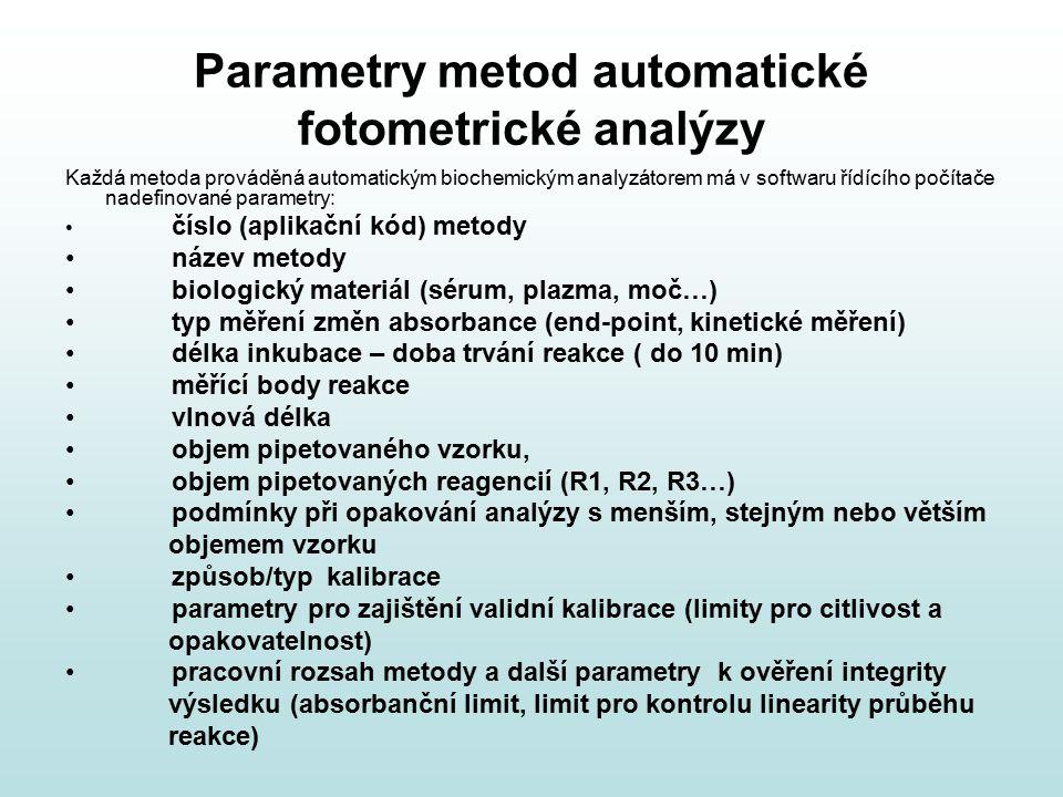 Parametry metod automatické fotometrické analýzy Každá metoda prováděná automatickým biochemickým analyzátorem má v softwaru řídícího počítače nadefin