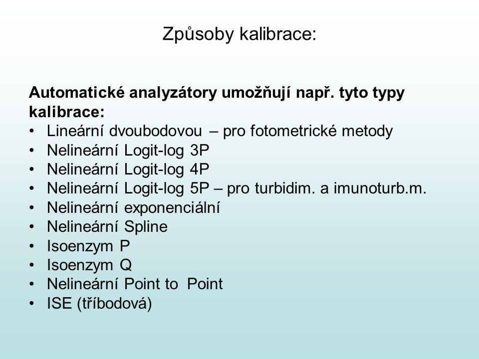 Způsoby kalibrace: Automatické analyzátory umožňují např. tyto typy kalibrace: Lineární dvoubodovou – pro fotometrické metody Nelineární Logit-log 3P