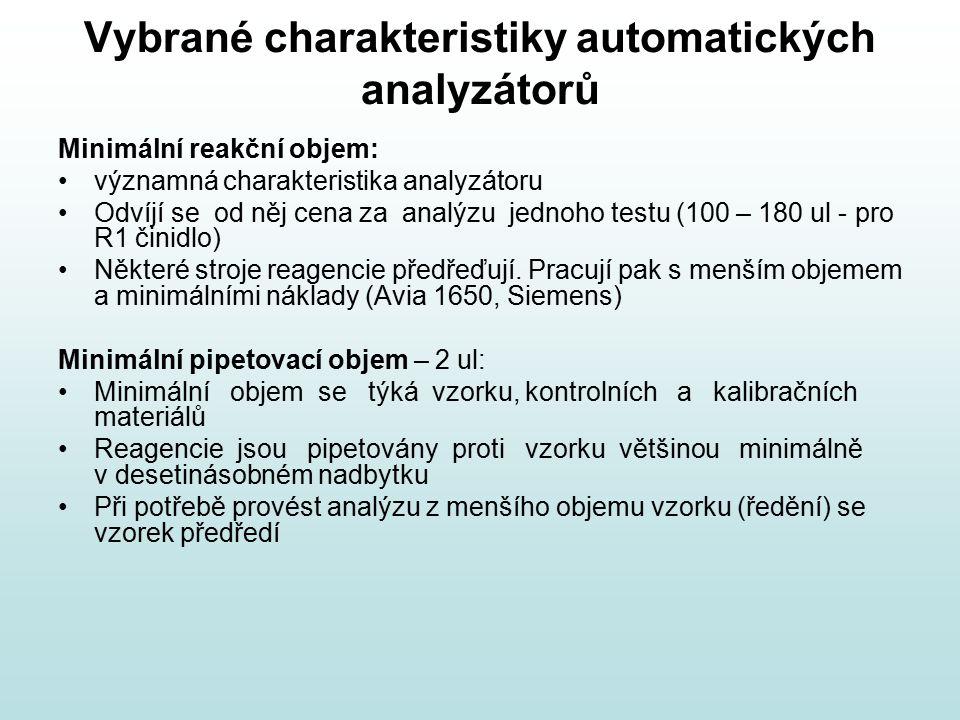 Vybrané charakteristiky automatických analyzátorů Minimální reakční objem: významná charakteristika analyzátoru Odvíjí se od něj cena za analýzu jedno