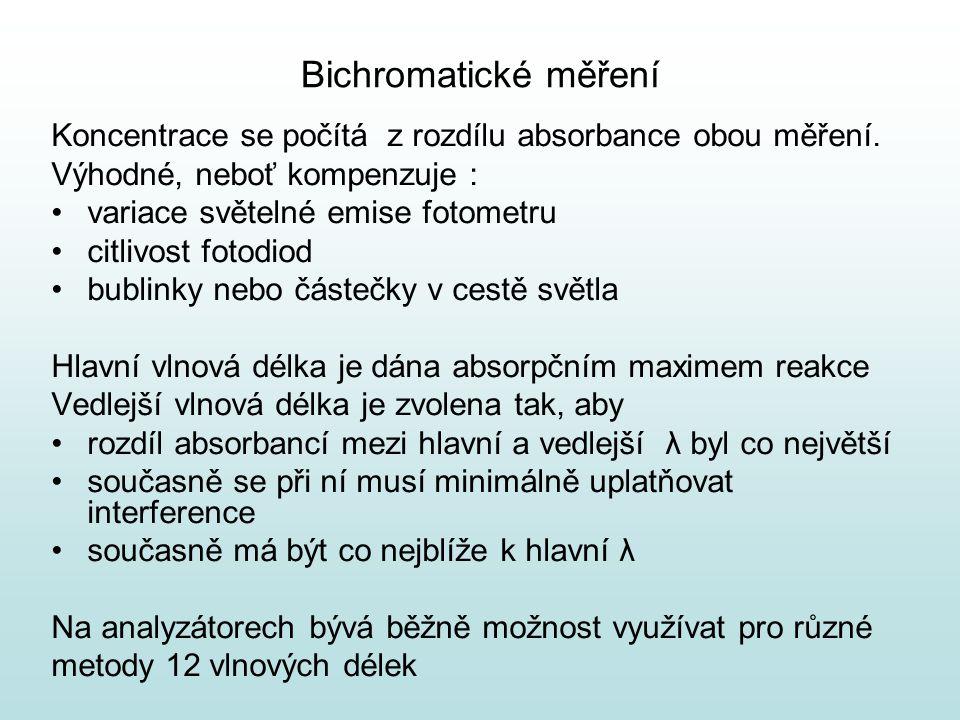 Bichromatické měření Koncentrace se počítá z rozdílu absorbance obou měření. Výhodné, neboť kompenzuje : variace světelné emise fotometru citlivost fo