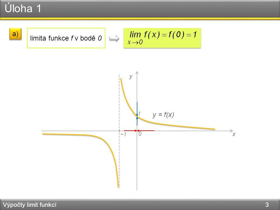 Úloha 1 Výpočty limit funkcí 3 x 0 y y = f(x) −1 1 a) limita funkce f v bodě 0