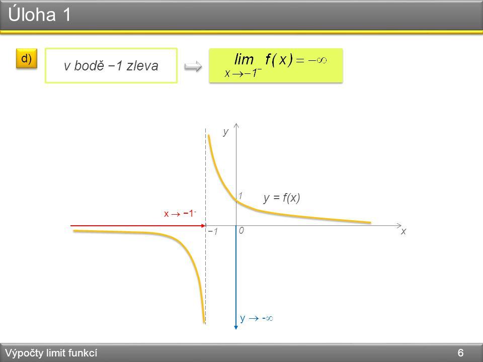 Úloha 1 Výpočty limit funkcí 6 x 0 y y = f(x) −1 1 d) v bodě −1 zleva x  −1 - y  - 
