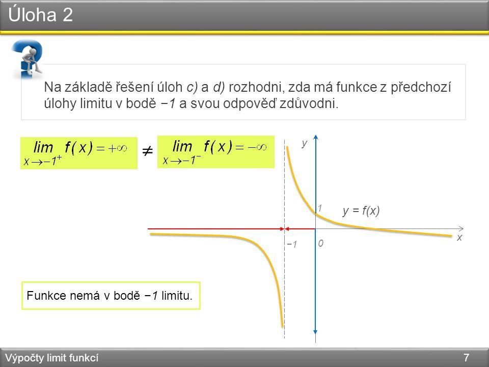 Úloha 2 Výpočty limit funkcí 7 Na základě řešení úloh c) a d) rozhodni, zda má funkce z předchozí úlohy limitu v bodě −1 a svou odpověď zdůvodni. x 0