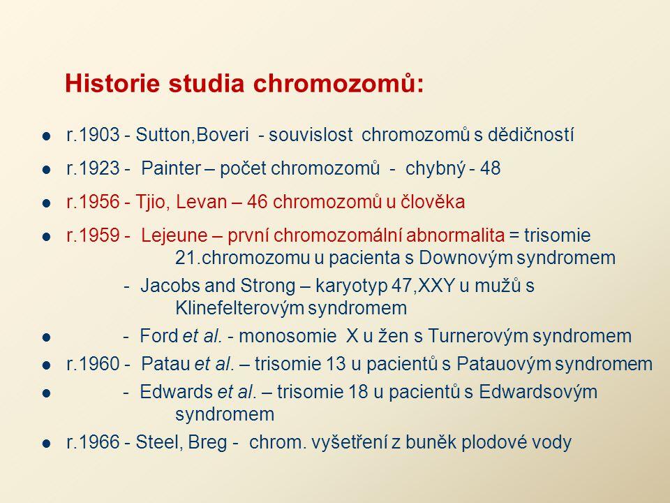 Historie studia chromozomů: r.1903 - Sutton,Boveri - souvislost chromozomů s dědičností r.1923 - Painter – počet chromozomů - chybný - 48 r.1956 - Tji