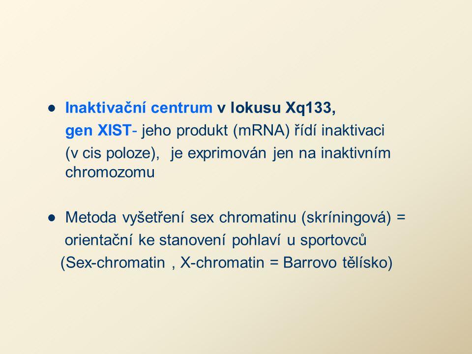 Inaktivační centrum v lokusu Xq133, gen XIST- jeho produkt (mRNA) řídí inaktivaci (v cis poloze), je exprimován jen na inaktivním chromozomu Metoda vy