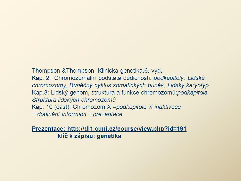 Thompson &Thompson: Klinická genetika,6. vyd. Kap. 2: Chromozomální podstata dědičnosti: podkapitoly: Lidské chromozomy, Buněčný cyklus somatických bu