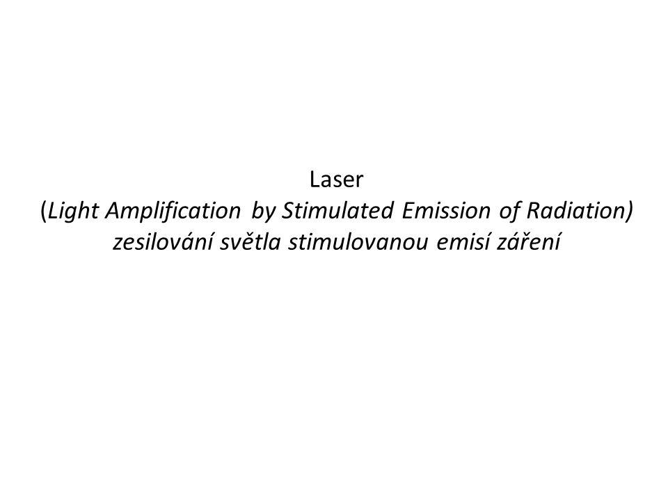 Laser (Light Amplification by Stimulated Emission of Radiation) zesilování světla stimulovanou emisí záření