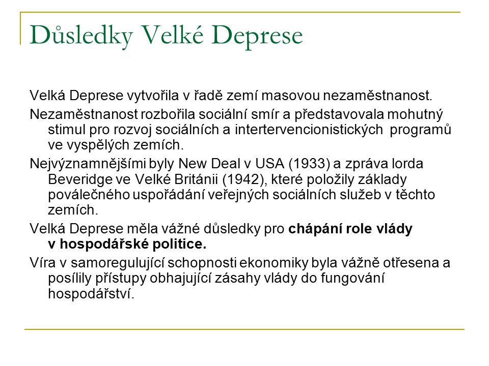 Důsledky Velké Deprese Velká Deprese vytvořila v řadě zemí masovou nezaměstnanost. Nezaměstnanost rozbořila sociální smír a představovala mohutný stim