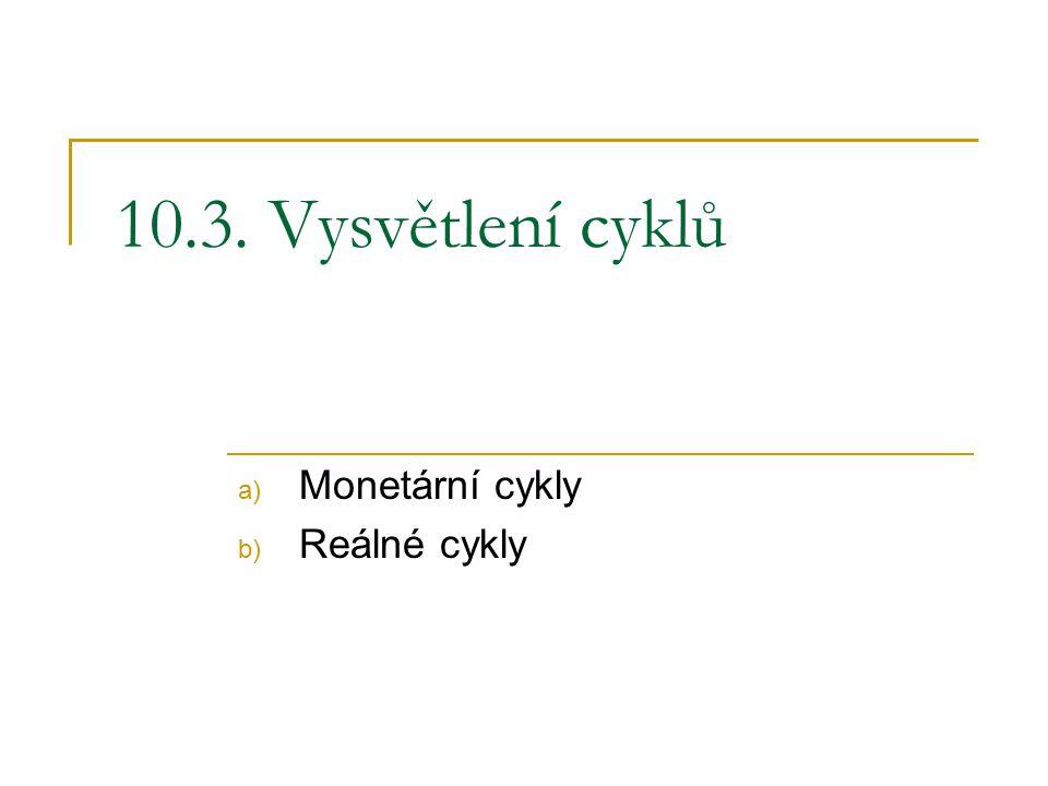 10.3. Vysvětlení cyklů a) Monetární cykly b) Reálné cykly