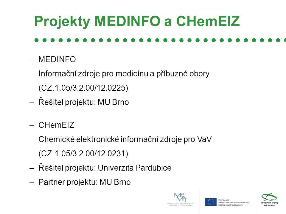 Projekty MEDINFO a CHemEIZ –MEDINFO Informační zdroje pro medicínu a příbuzné obory (CZ.1.05/3.2.00/12.0225) –Řešitel projektu: MU Brno –CHemEIZ Chemické elektronické informační zdroje pro VaV (CZ.1.05/3.2.00/12.0231) –Řešitel projektu: Univerzita Pardubice –Partner projektu: MU Brno
