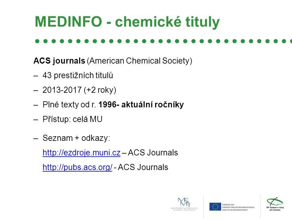 MEDINFO - chemické tituly ACS journals (American Chemical Society) –43 prestižních titulů –2013-2017 (+2 roky) –Plné texty od r.