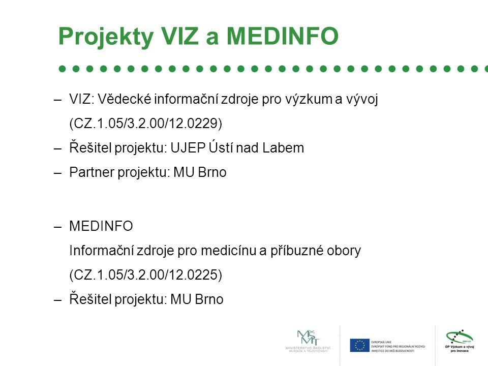 Projekty VIZ a MEDINFO –VIZ: Vědecké informační zdroje pro výzkum a vývoj (CZ.1.05/3.2.00/12.0229) –Řešitel projektu: UJEP Ústí nad Labem –Partner projektu: MU Brno –MEDINFO Informační zdroje pro medicínu a příbuzné obory (CZ.1.05/3.2.00/12.0225) –Řešitel projektu: MU Brno