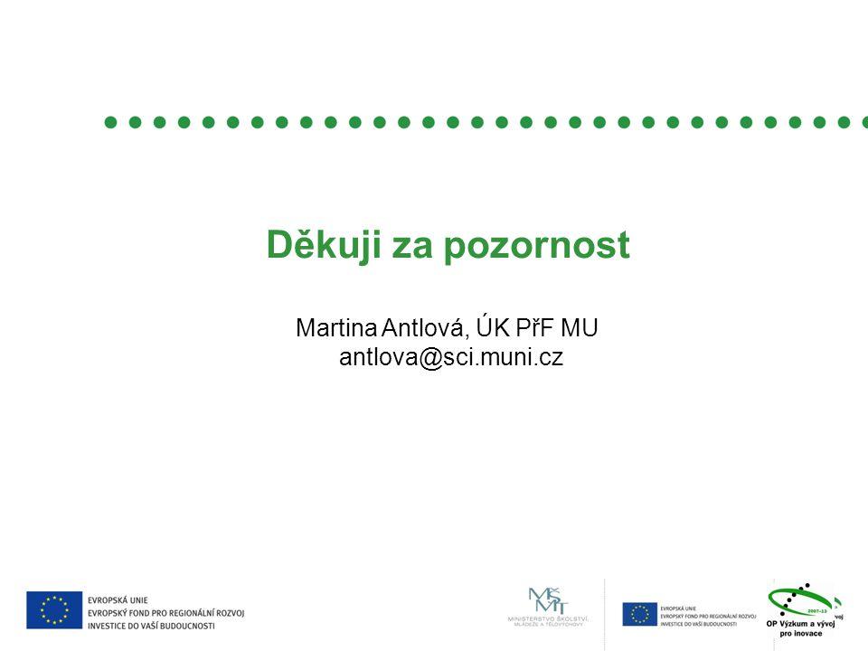 Děkuji za pozornost Martina Antlová, ÚK PřF MU antlova@sci.muni.cz