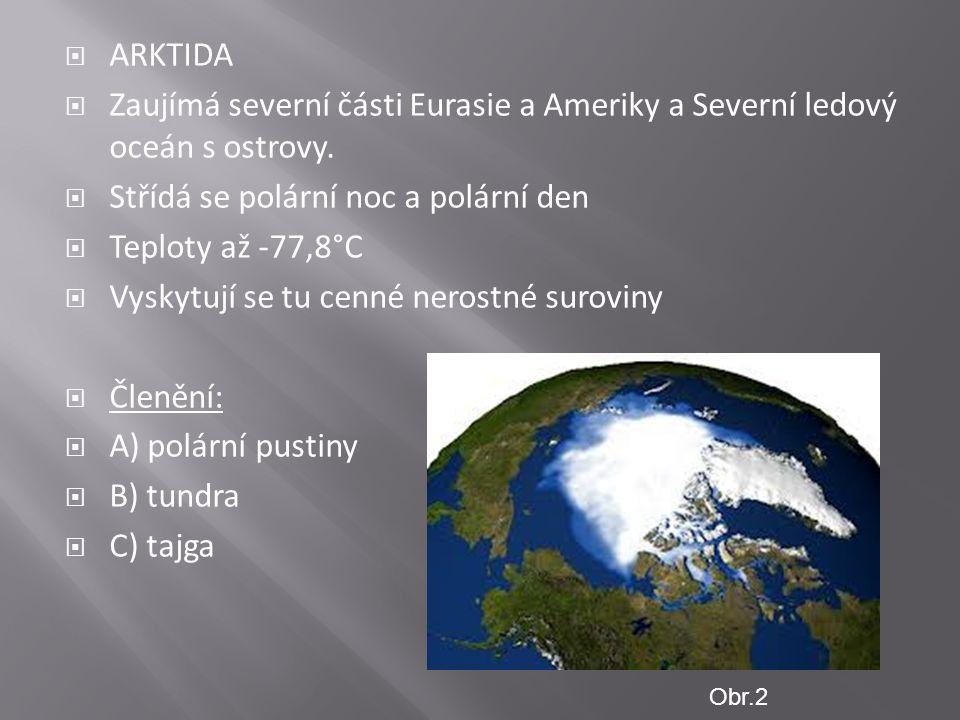  ARKTIDA  Zaujímá severní části Eurasie a Ameriky a Severní ledový oceán s ostrovy.  Střídá se polární noc a polární den  Teploty až -77,8°C  Vys