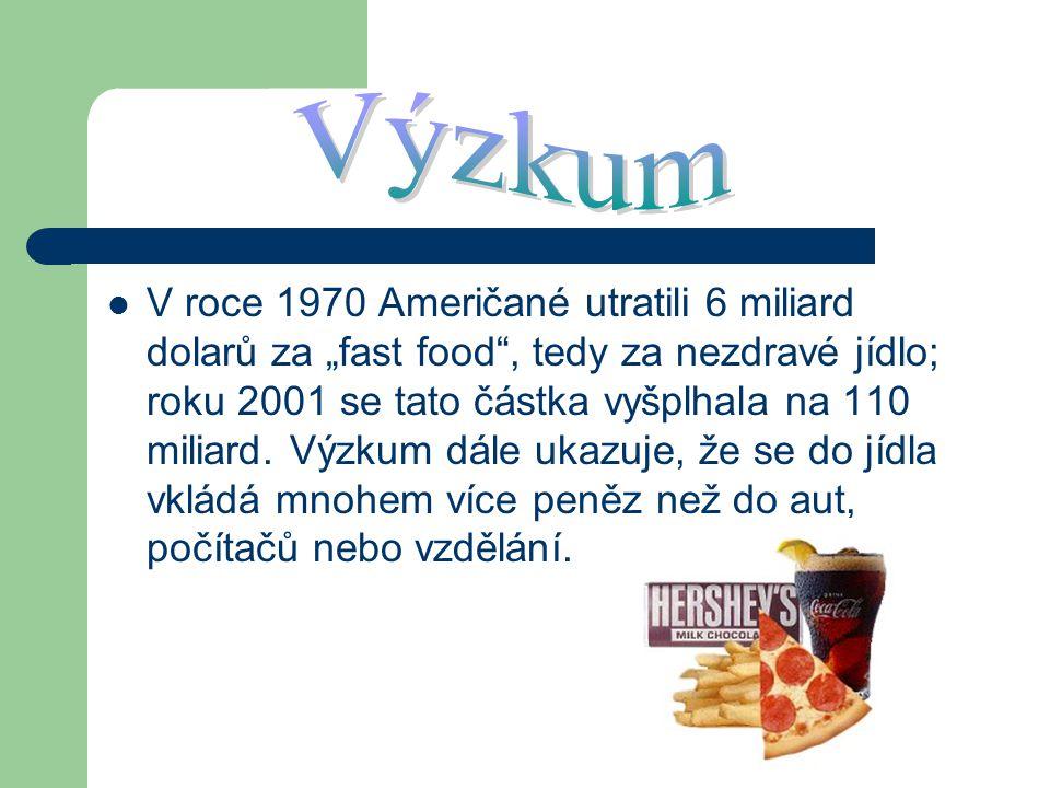 """V roce 1970 Američané utratili 6 miliard dolarů za """"fast food"""", tedy za nezdravé jídlo; roku 2001 se tato částka vyšplhala na 110 miliard. Výzkum dále"""