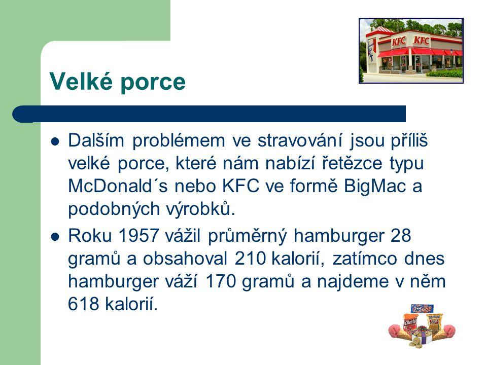 Velké porce Dalším problémem ve stravování jsou příliš velké porce, které nám nabízí řetězce typu McDonald´s nebo KFC ve formě BigMac a podobných výro